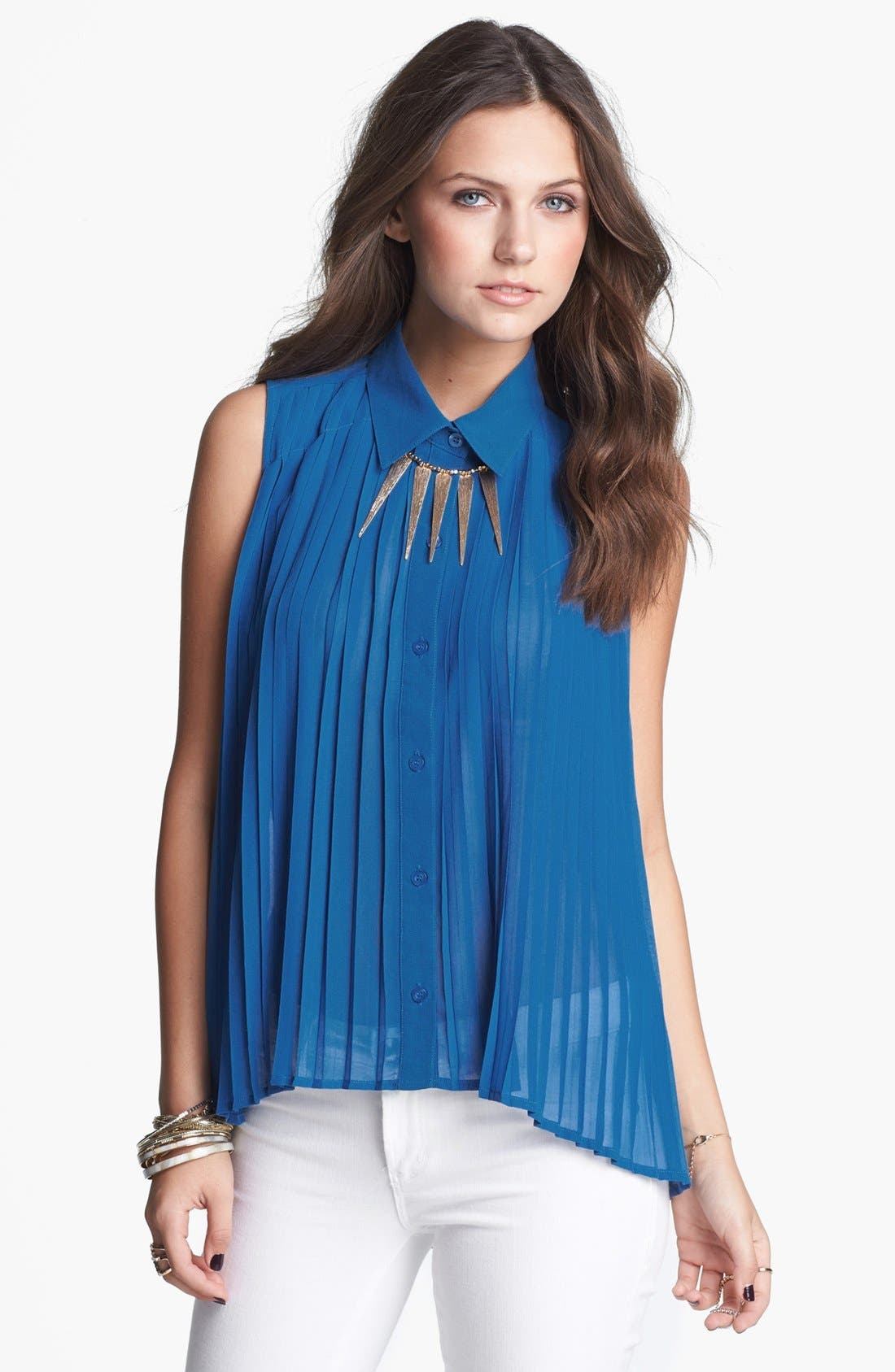 Alternate Image 1 Selected - Lovposh Pleated High/Low Shirt (Juniors) (Online Exclusive)