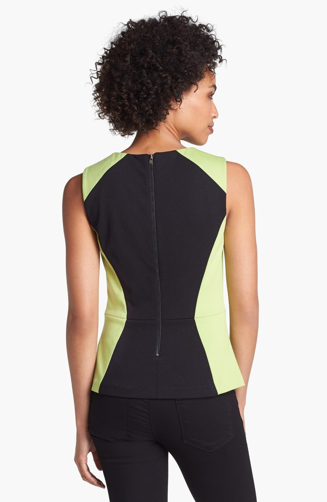 Alternate Image 2  - Halogen® Colorblock Ponte Peplum Shell