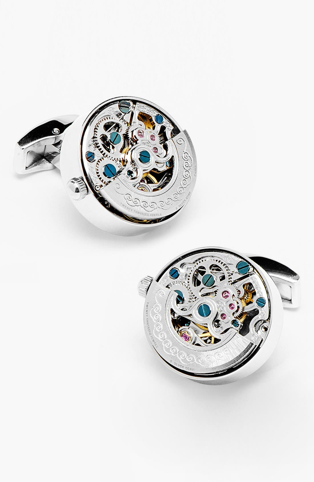 'Kinetic Watch' Cuff Links,                         Main,                         color, Silver