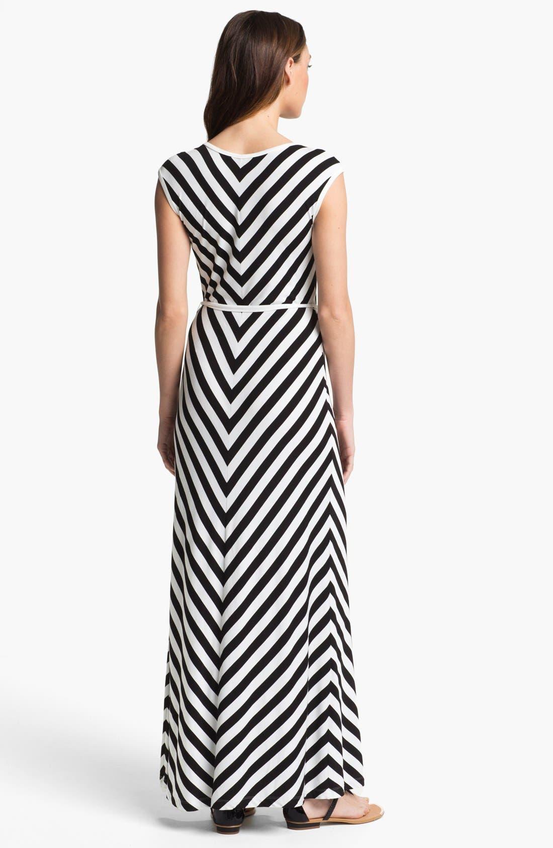 Alternate Image 2  - Calvin Klein Belted Stripe Maxi Dress (Petite)