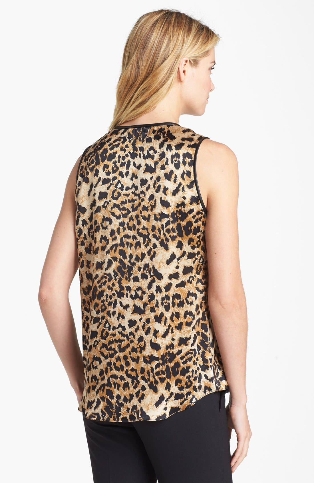 Alternate Image 2  - Vince Camuto Faux Leather Trim Leopard Print Shell (Online Only)