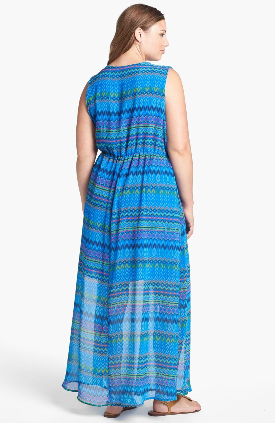 Alternate Image 2  - Sweet Pea by Stacy Frati Print Chiffon Maxi Dress (Plus Size)