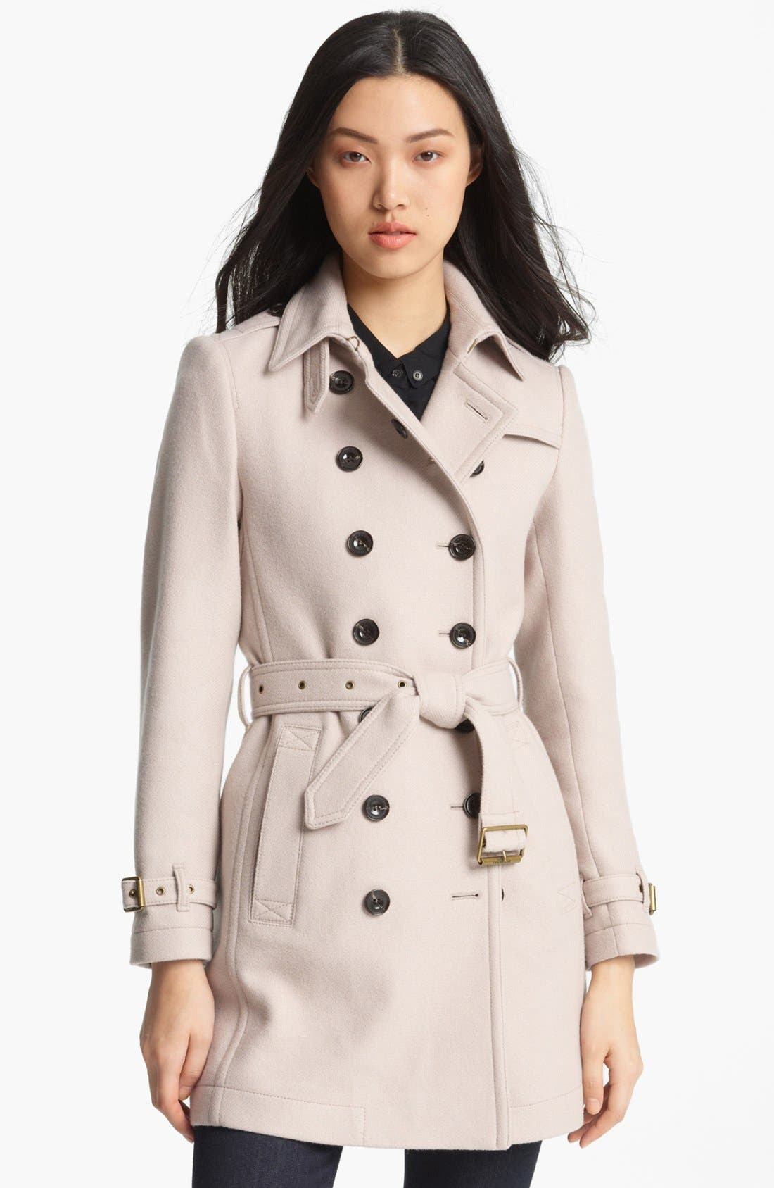 Main Image - Burberry Brit 'Crombrook' Wool Blend Trench Coat