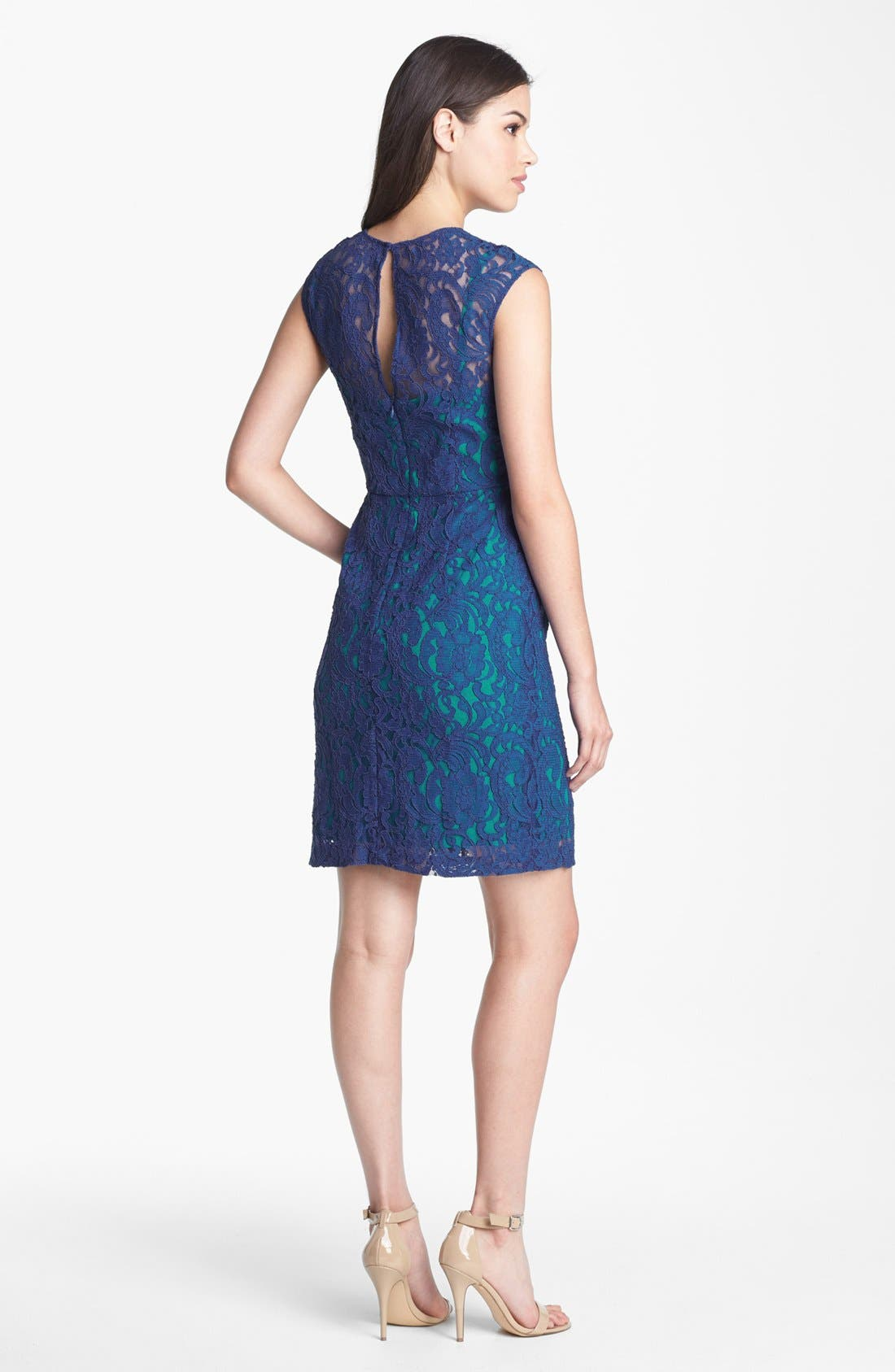 Alternate Image 3  - Ivy & Blu Cap Sleeve Lace Dress