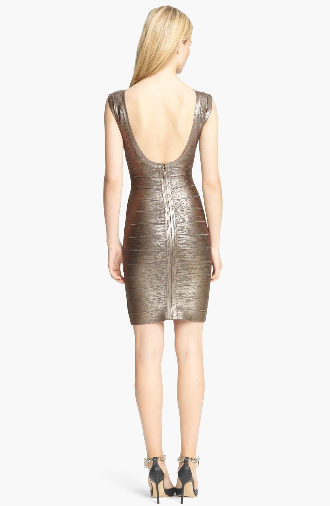 Alternate Image 2  - Herve Leger Foiled Bandage Dress