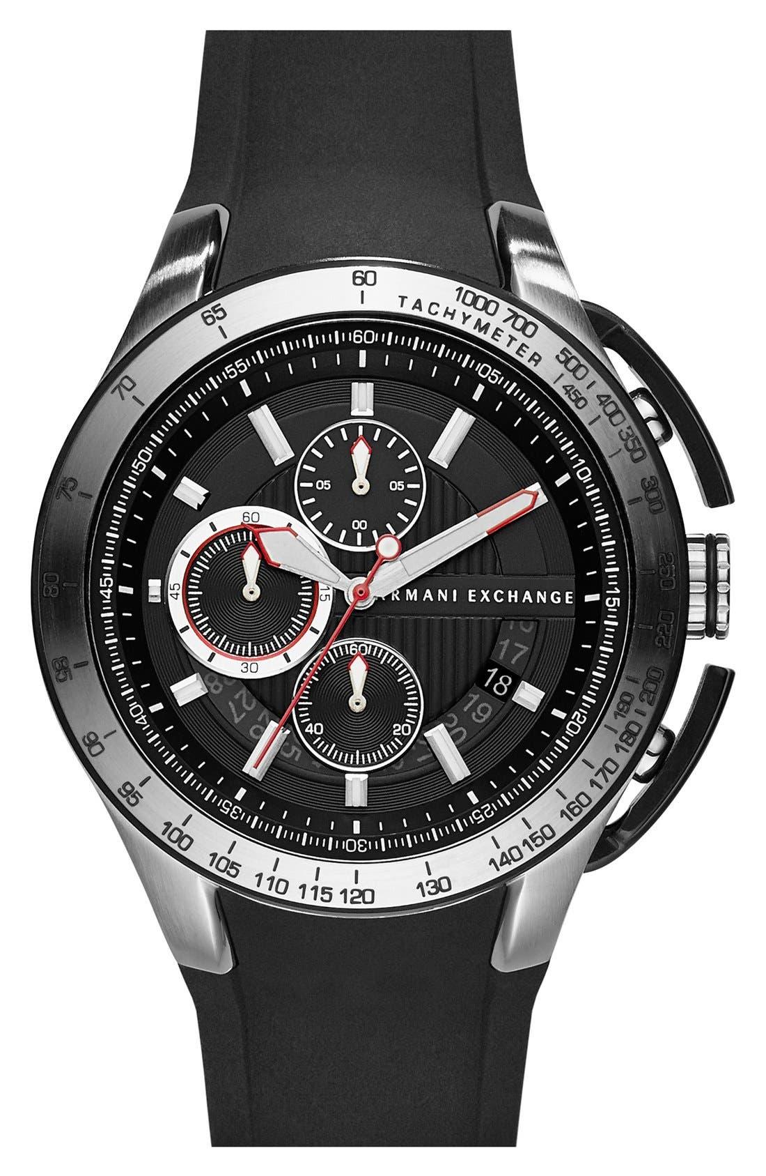 Main Image - AX Armani Exchange Chronograph Silicone Strap Watch, 45mm