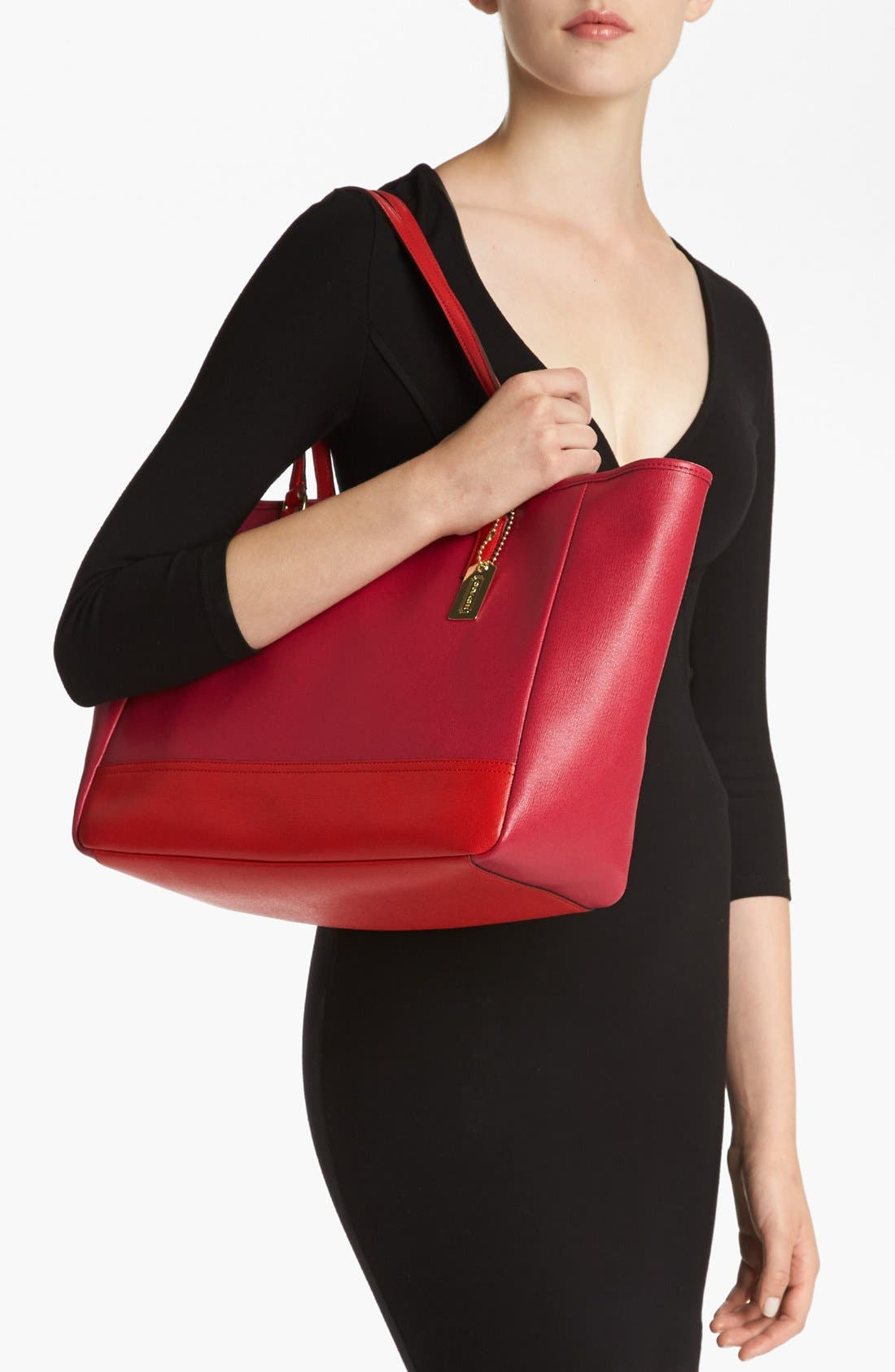 Alternate Image 4  - COACH 'Colorblock - Medium' Leather Tote