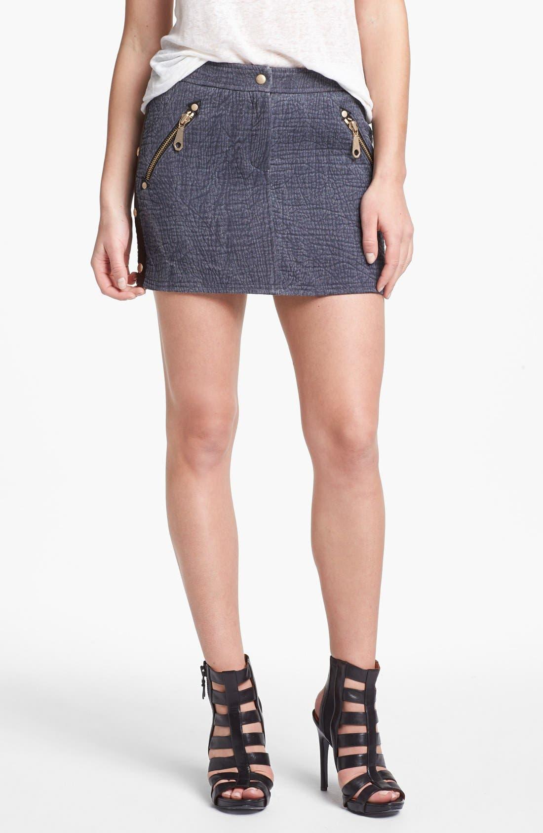 'Fred' Denim Miniskirt,                         Main,                         color, Cadet/ Black