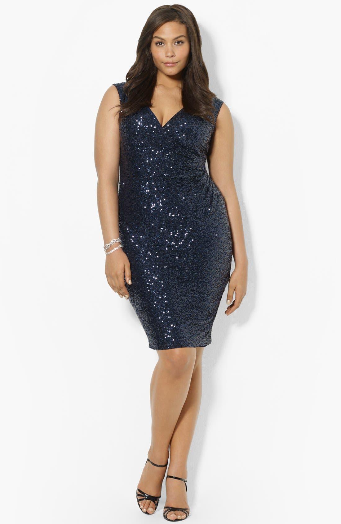 Main Image - Lauren Ralph Lauren Sequin Sheath Dress (Plus Size)
