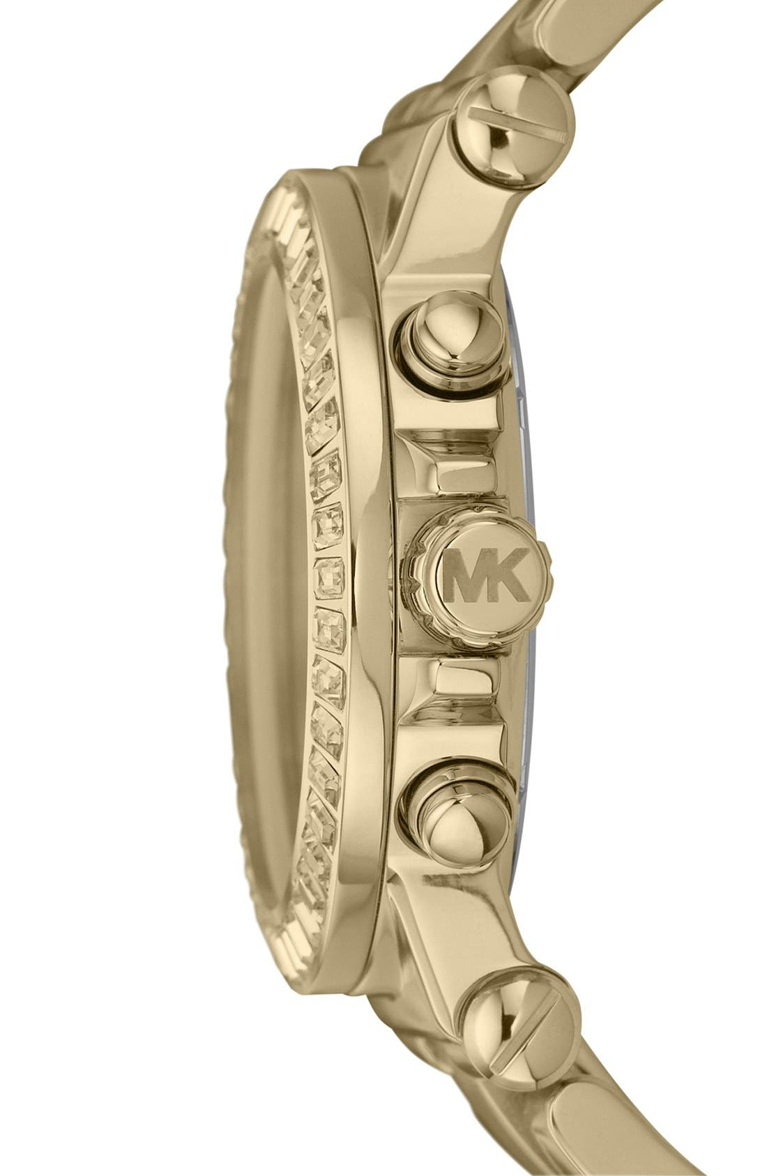 Michael Kors 'Dylan' Crystal Bezel Chronograph Watch, 43mm,                             Alternate thumbnail 3, color,                             Gold