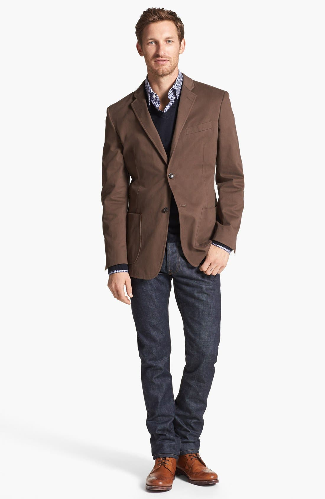 Main Image - Wallin & Bros. Extra Trim Fit Cotton Twill Blazer