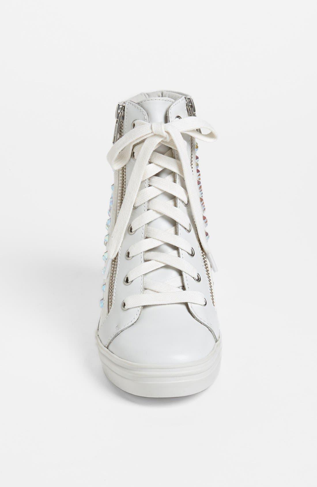'Zipps' Wedge Sneaker,                             Alternate thumbnail 3, color,                             White Multi