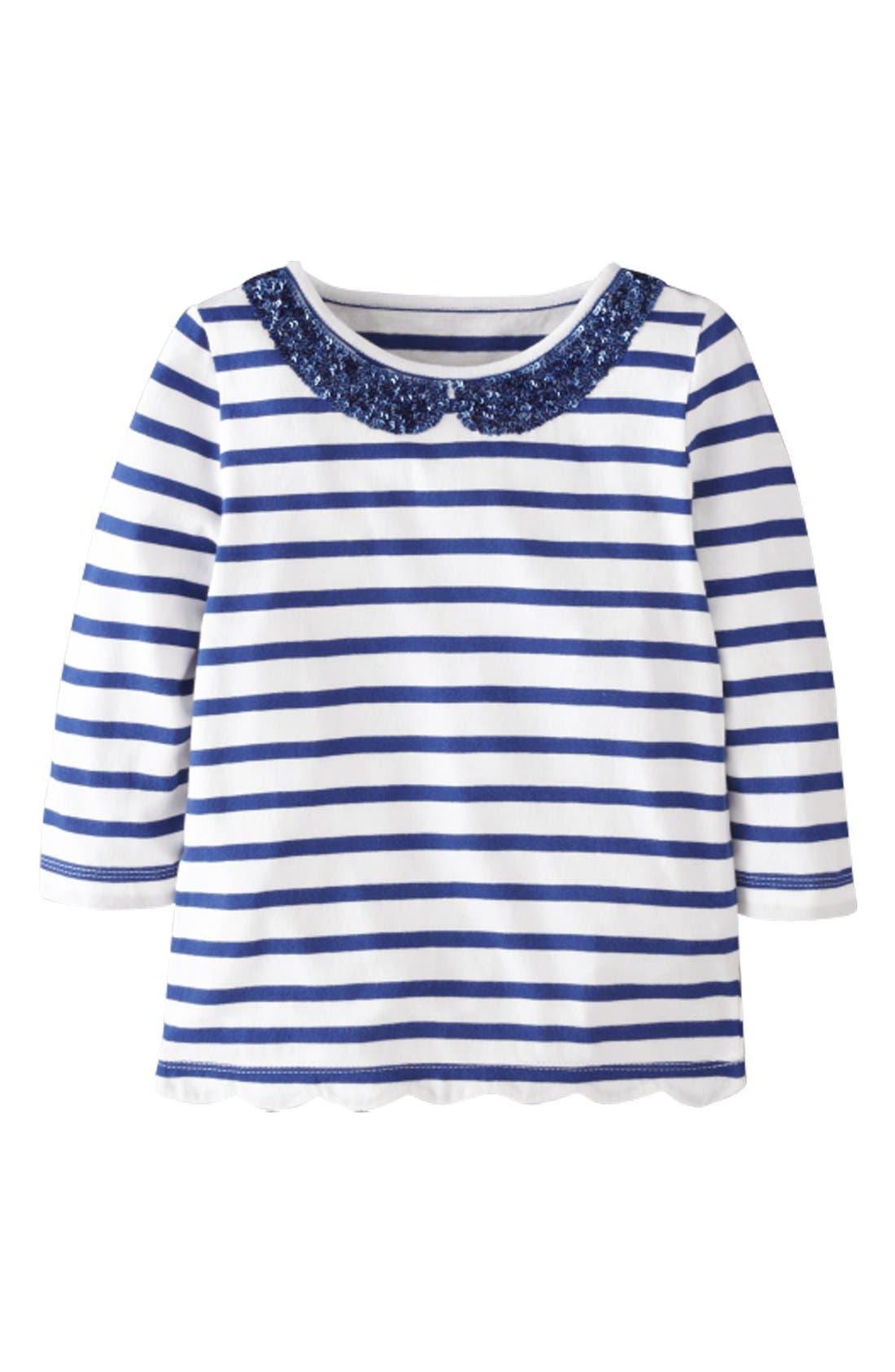 Alternate Image 1 Selected - Mini Boden 'Sequin Collar' Tee (Little Girls & Big Girls)