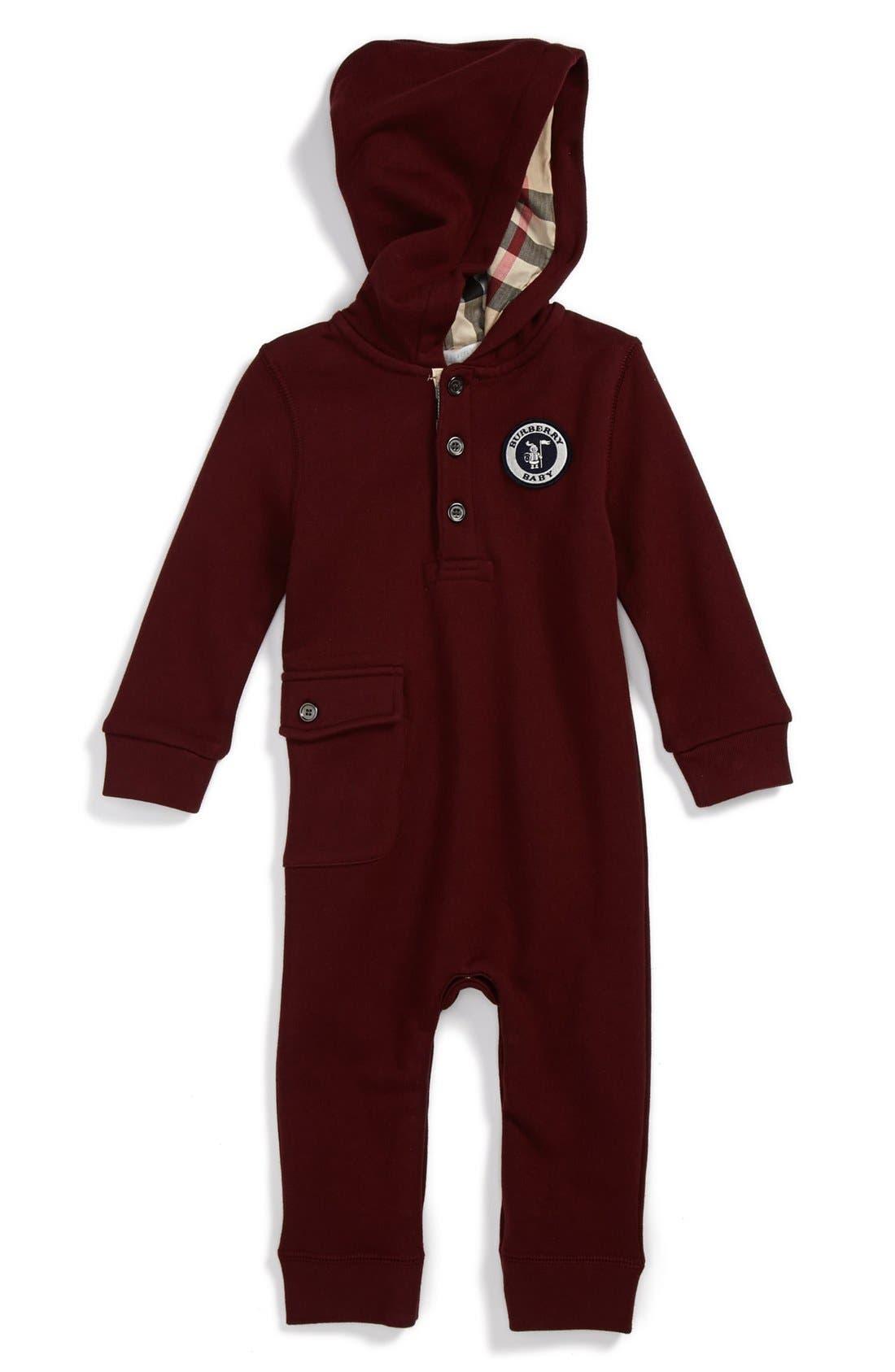 Alternate Image 1 Selected - Burberry 'Frani' Henley Hooded Romper (Toddler Boys)