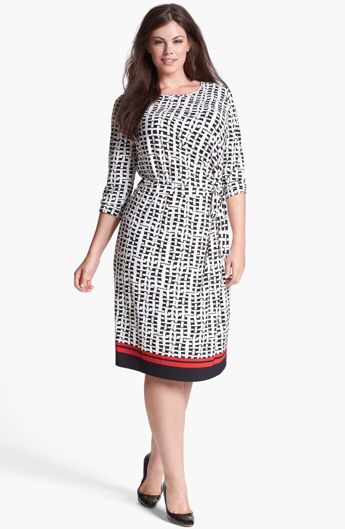 Alternate Image 1 Selected - Anne Klein Print Jersey Faux Wrap Dress (Plus Size)