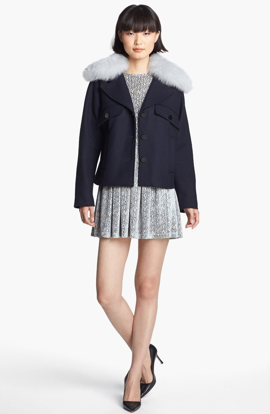 Wool Coat with Genuine Fox Fur Trim,                             Alternate thumbnail 2, color,                             Navy