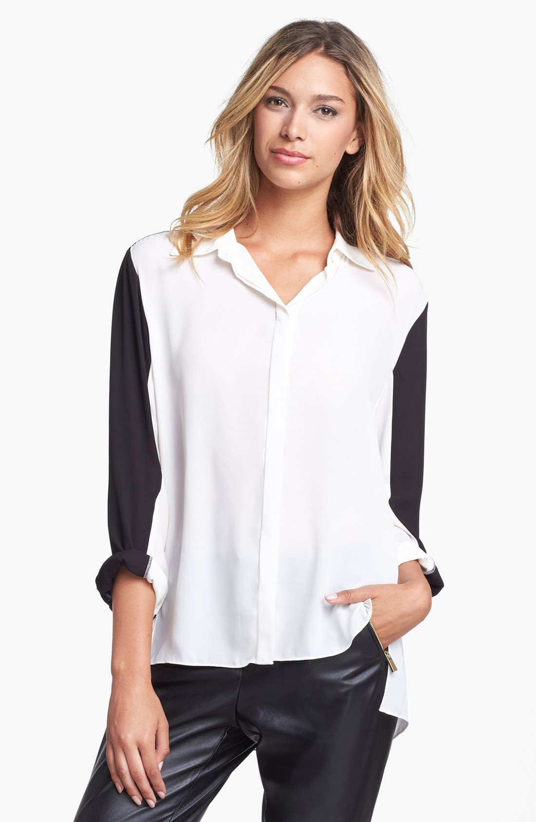 Alternate Image 2  - Vince Camuto Colorblock High/Low Blouse (Online Only)