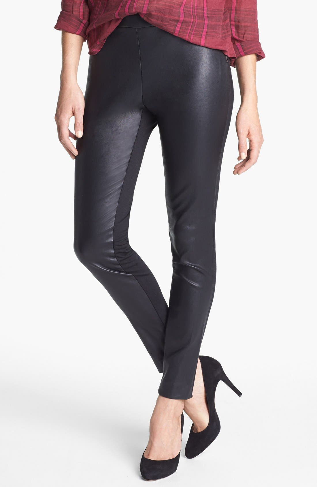 Alternate Image 1 Selected - Halogen® Faux Leather & Ponte Pants (Regular & Petite)