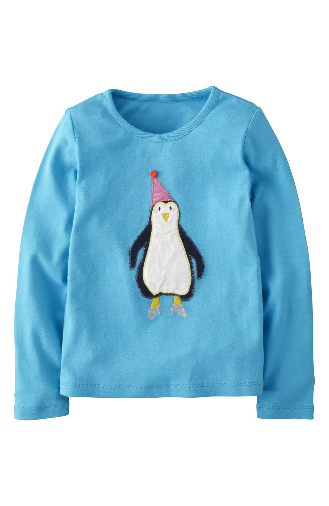 Main Image - Mini Boden Velvet Appliqué Long Sleeve Tee (Toddler Girls, Little Girls & Big Girls)