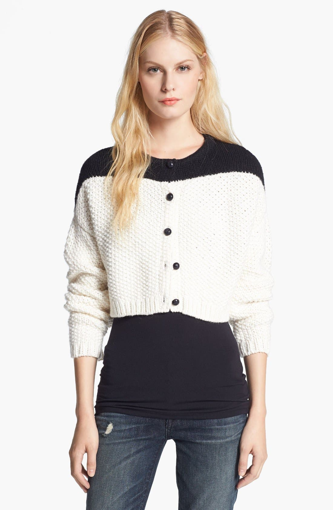 Alternate Image 1 Selected - Elizabeth and James Colorblock Crop Cardigan
