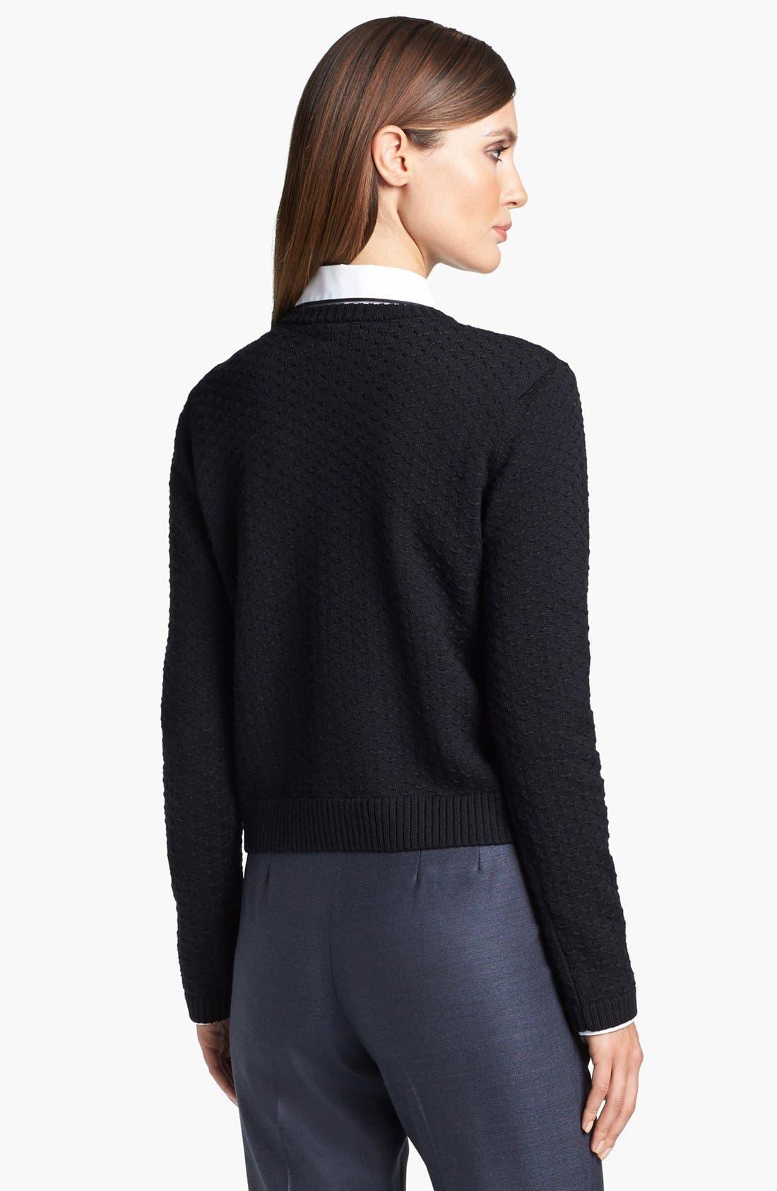 Alternate Image 4  - St. John Yellow Label Shoulder Snap Eyelet Knit Sweater