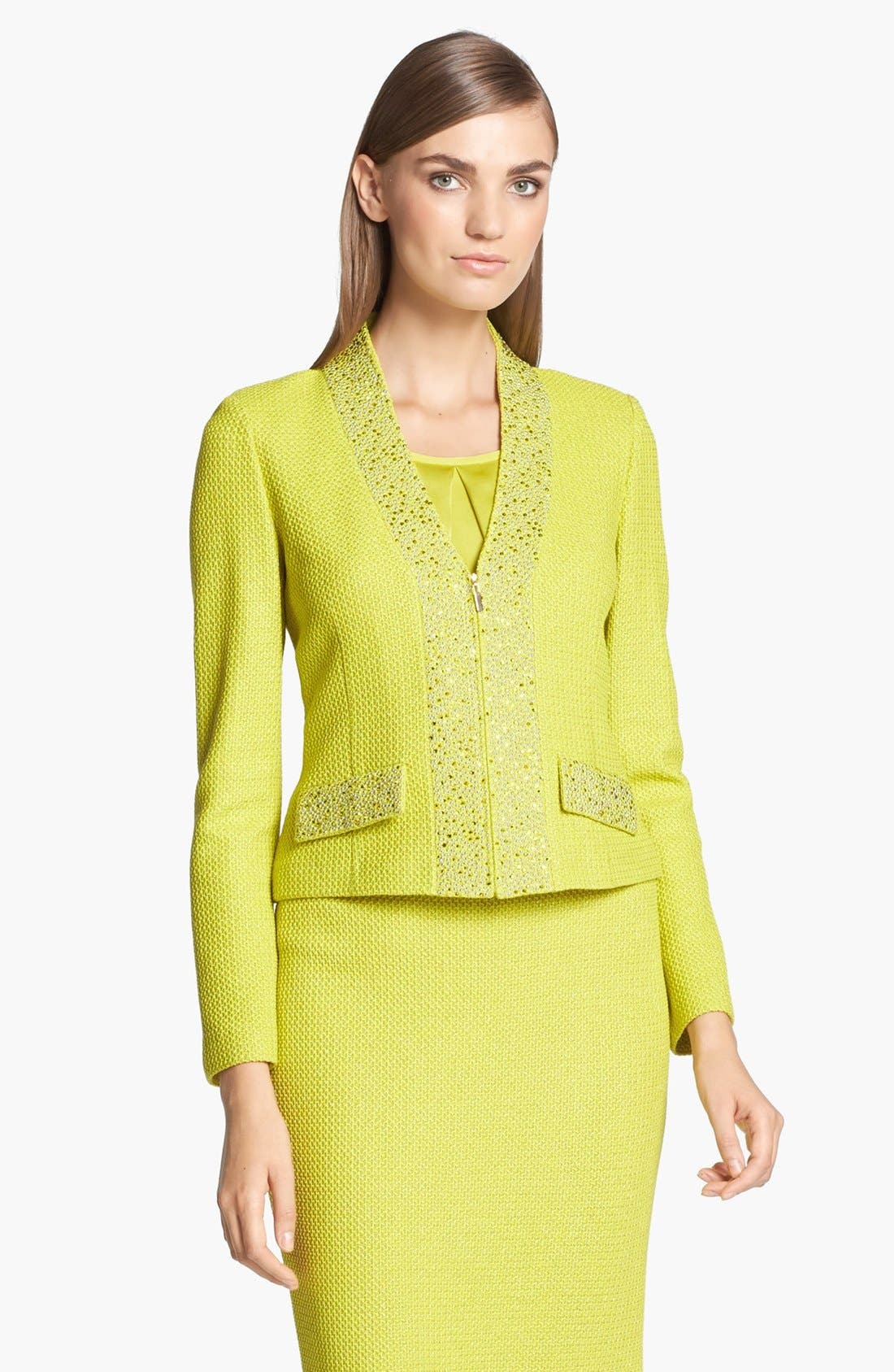 Alternate Image 1 Selected - St. John Collection Metallic Lattice Knit Jacket