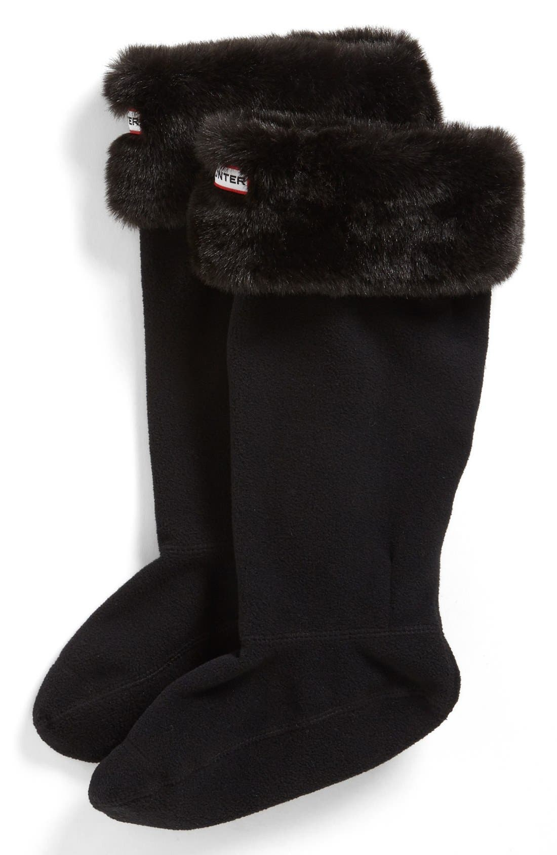 Alternate Image 1 Selected - Hunter Faux Fur Cuff Welly Socks