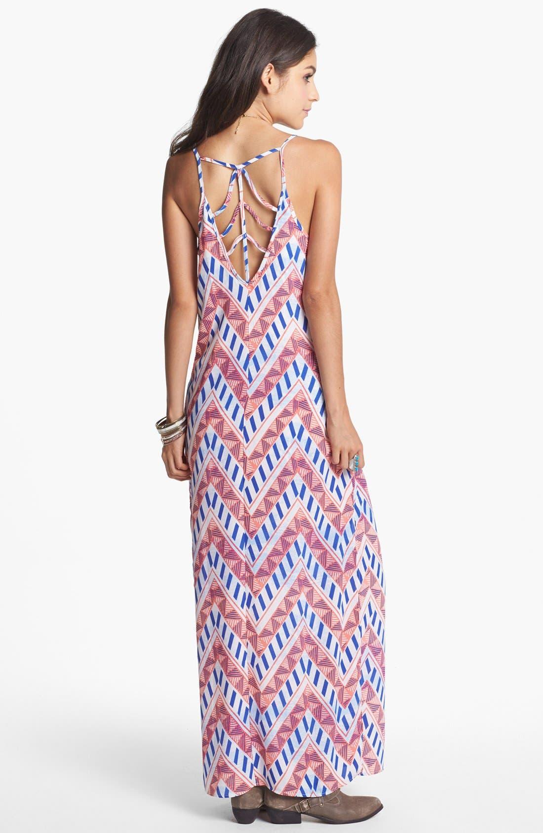 Alternate Image 2  - Lush Back Cutout Print Maxi Dress (Juniors)