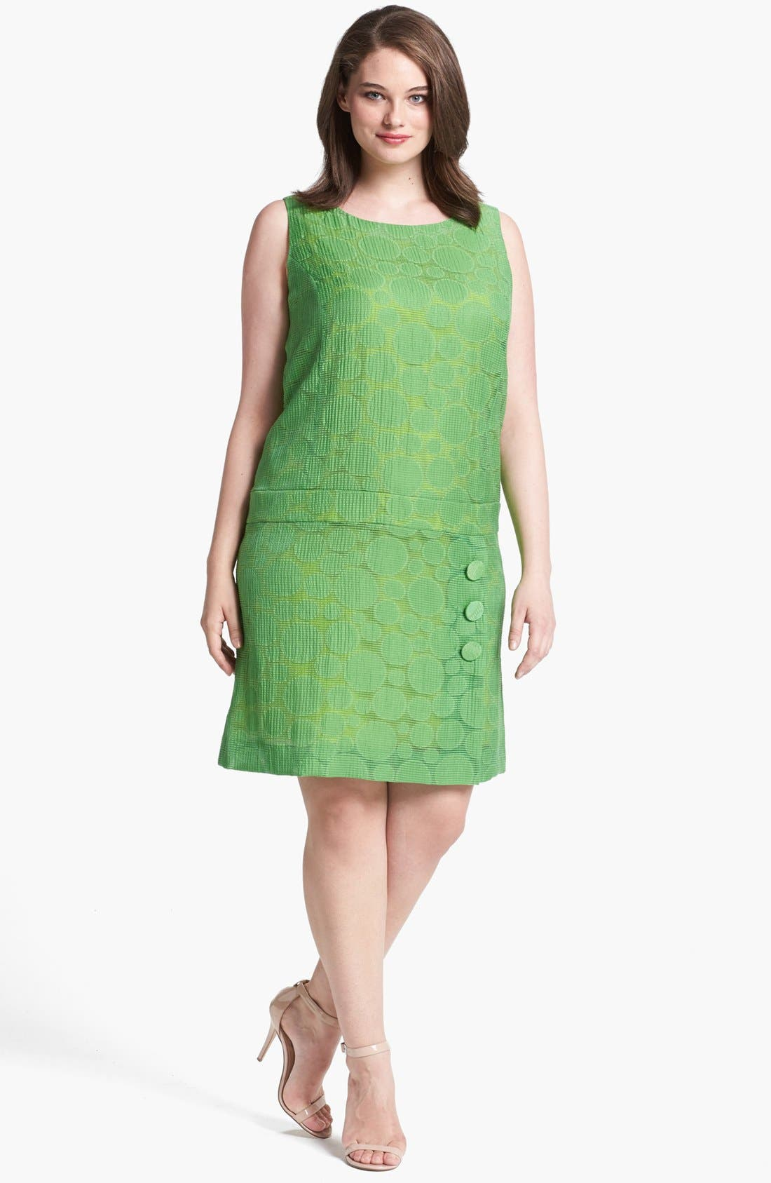 Main Image - Tahari Jacquard Drop Waist Shift Dress (Plus Size)