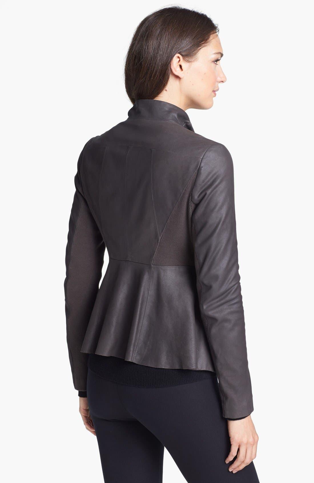 Alternate Image 2  - Elie Tahari 'Constance' Peplum Back Leather Jacket