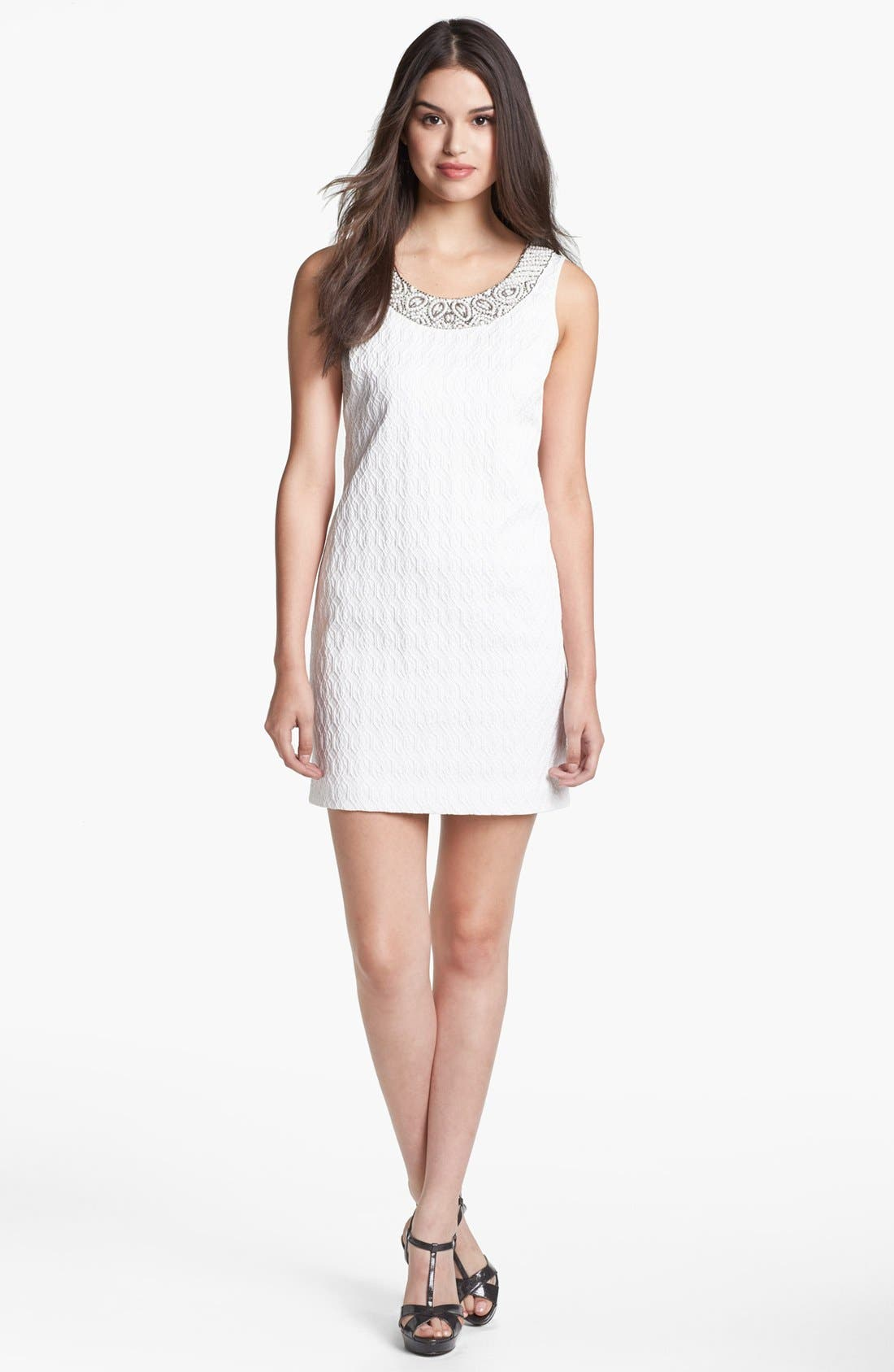 Main Image - Adrianna Papell Embellished Jacquard Shift Dress (Petite)
