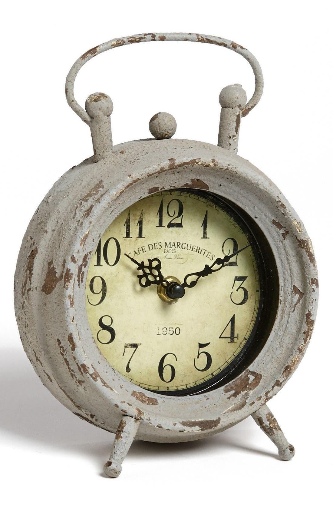 Main Image - Distressed Green Metal Clock