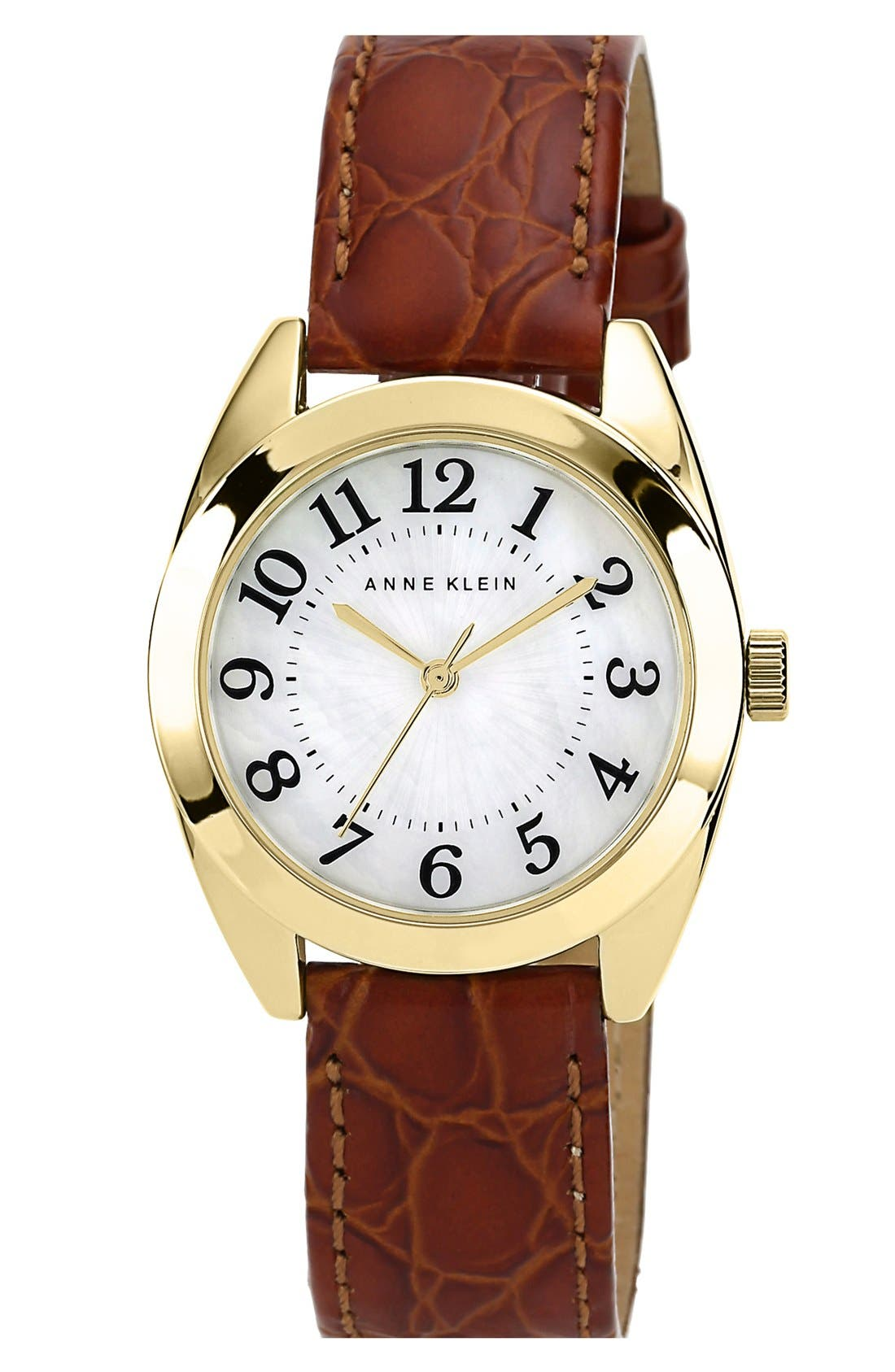 Main Image - Anne Klein Round Embossed Leather Strap Watch, 32mm