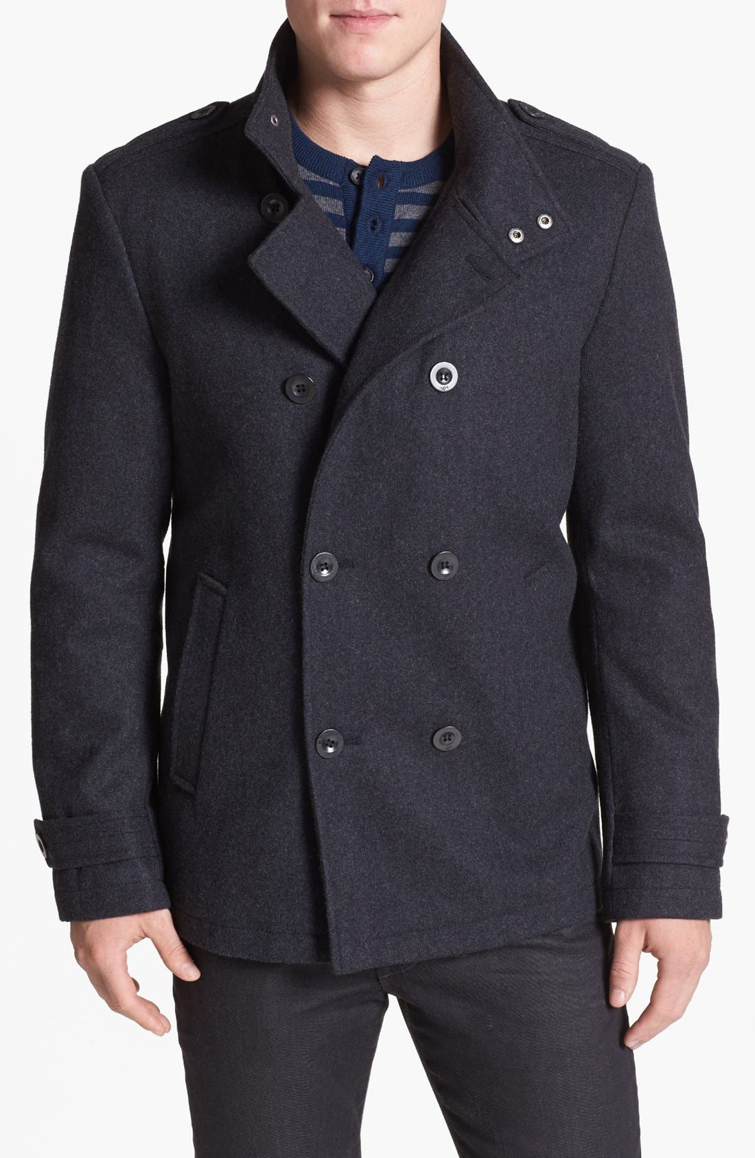 Alternate Image 1 Selected - Kenneth Cole New York Melton Wool Peacoat
