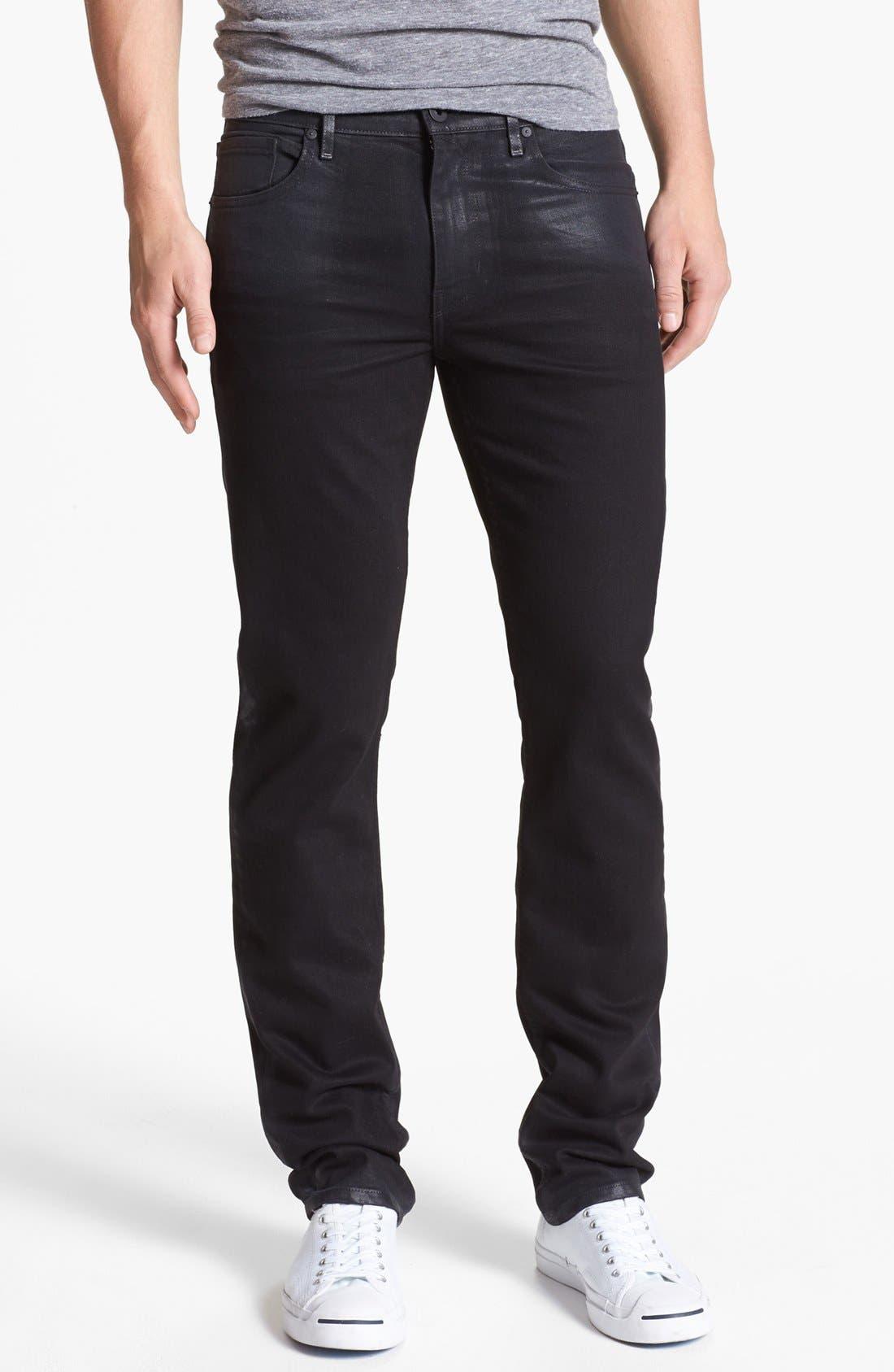 Alternate Image 2  - PAIGE 'Federal' Coated Slim Fit Jeans (Oil Slick)