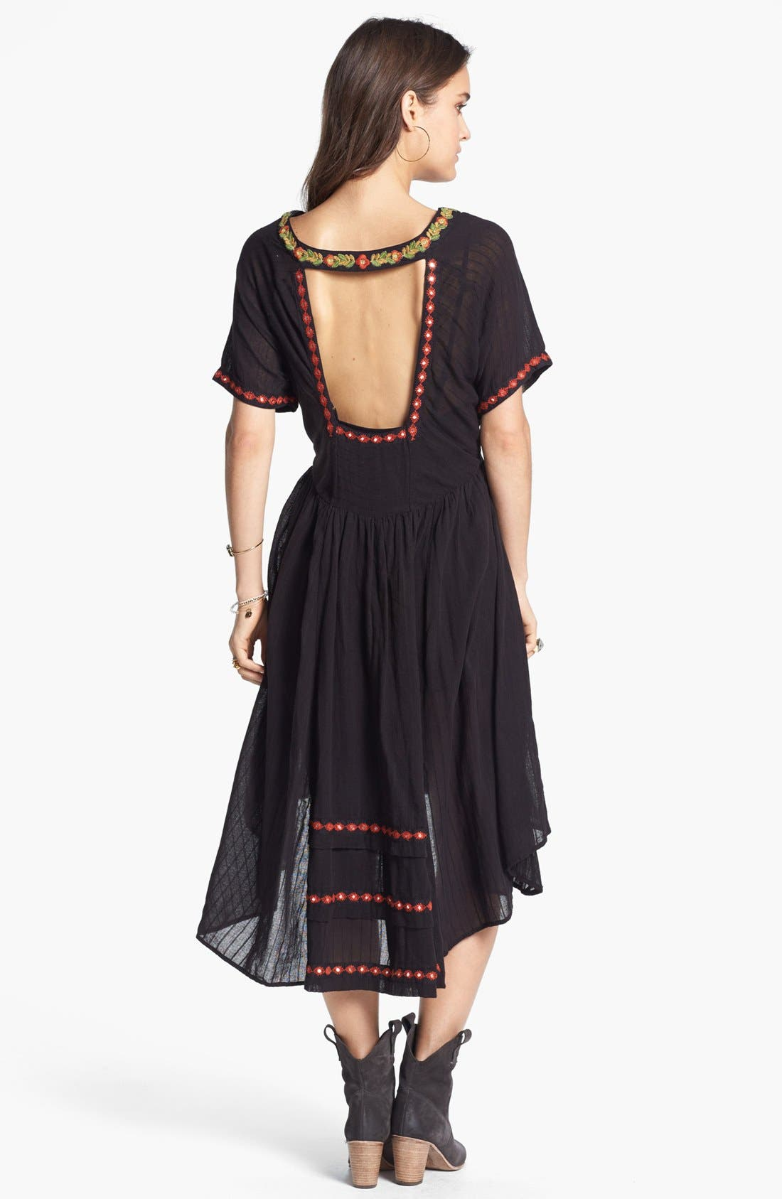 Alternate Image 2  - Free People 'Folk' Embroidered Cotton High/Low Dress