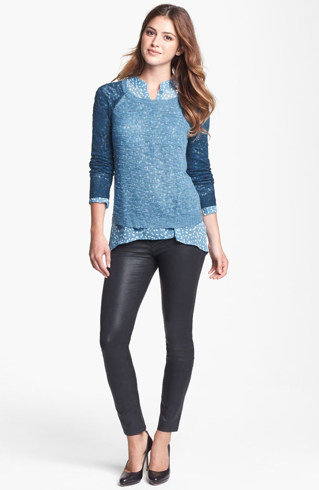 Alternate Image 1 Selected - kensie Contrast Sleeve Burnout Sweater