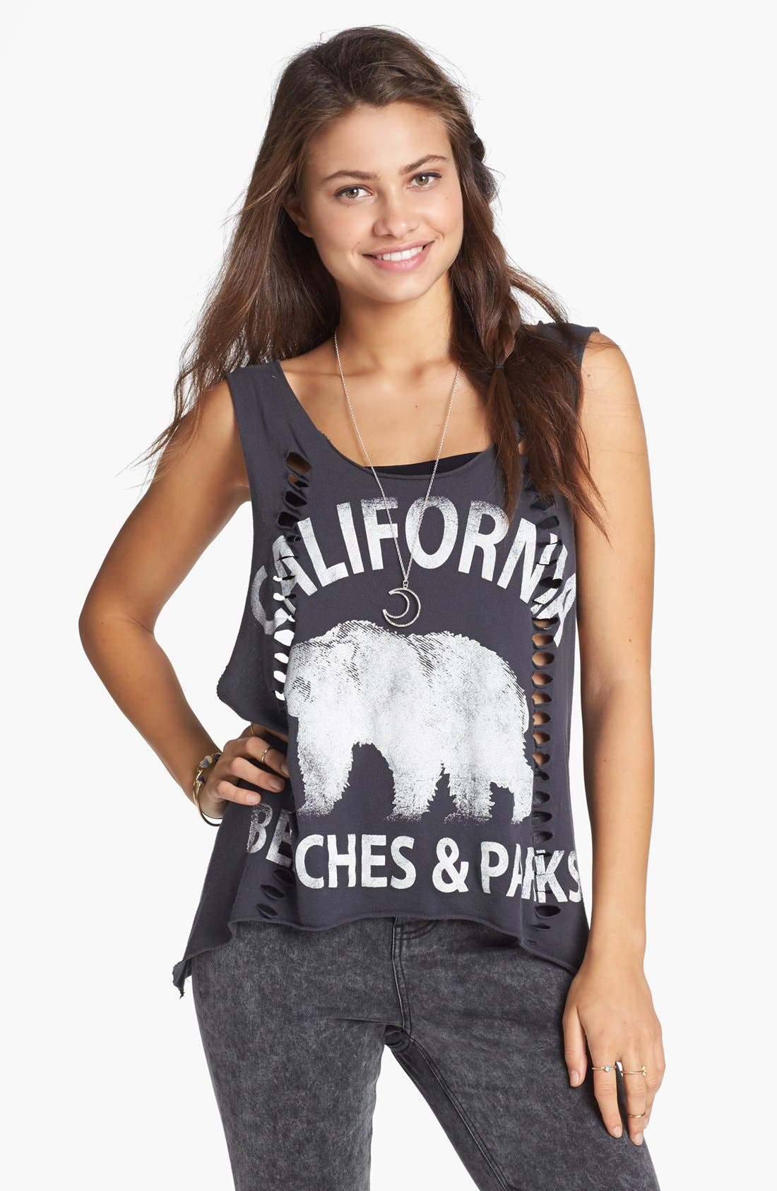 Alternate Image 1 Selected - Project Social T 'California Bear' Graphic Shredded Muscle Tank (Juniors)