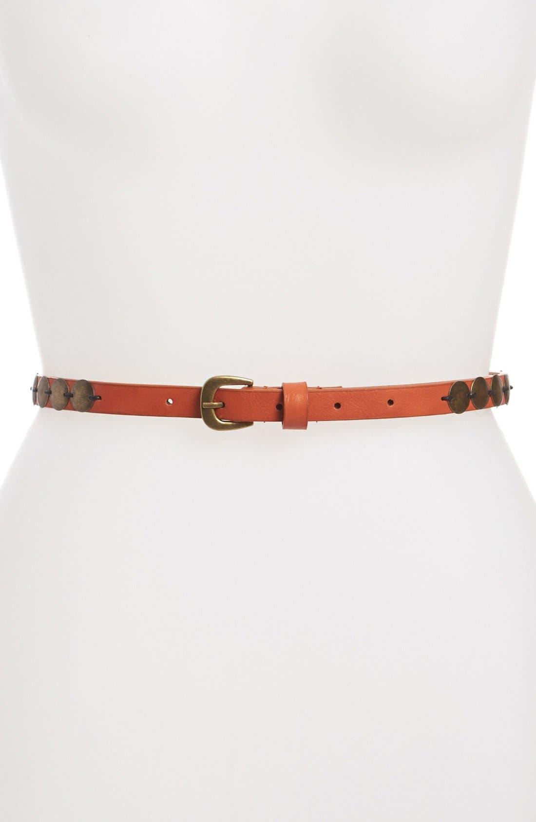 Alternate Image 1 Selected - Belgo Lux Studded Skinny  Belt