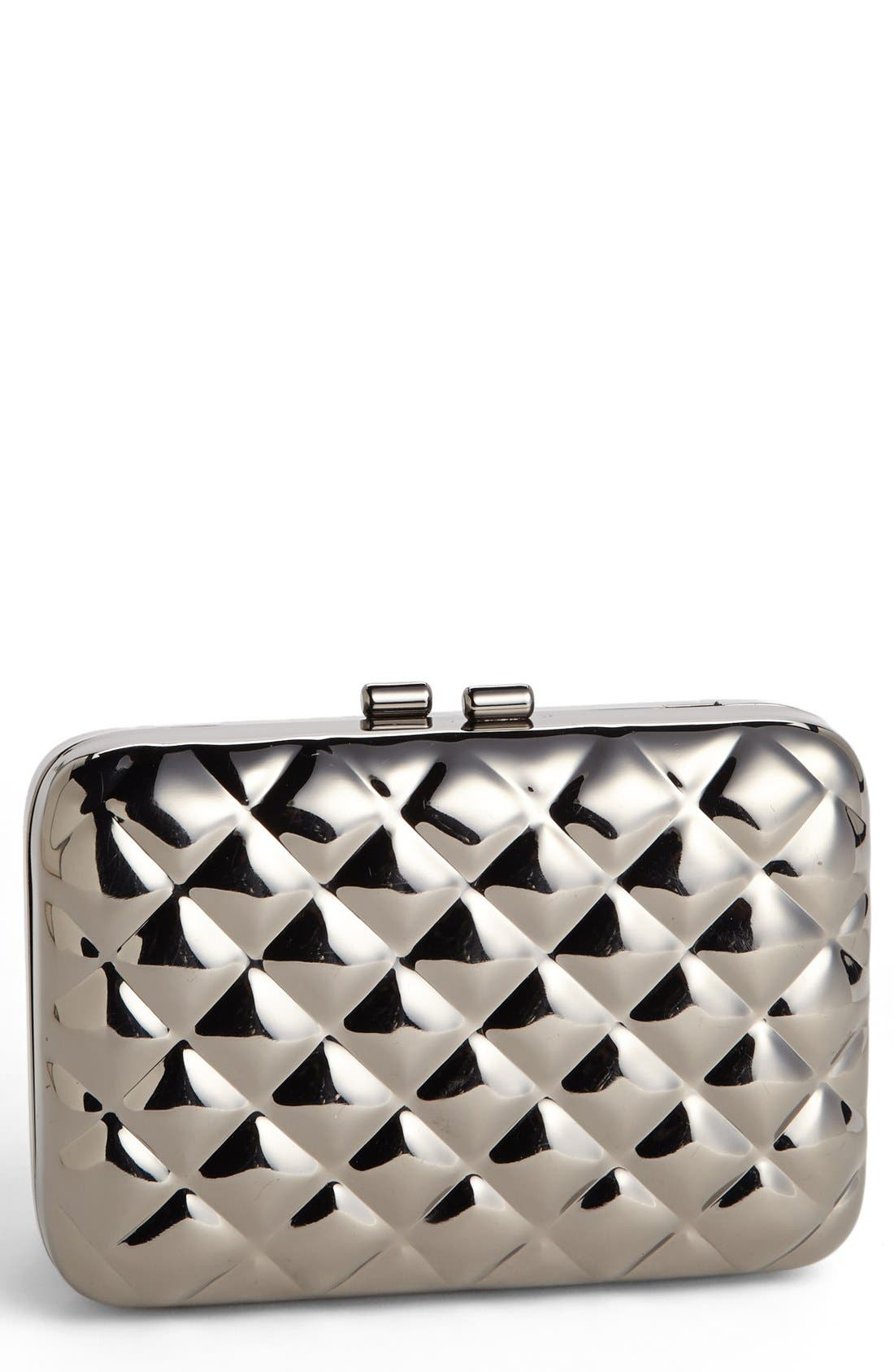 Quilted Metal Clutch,                             Main thumbnail 1, color,                             Gunmetal