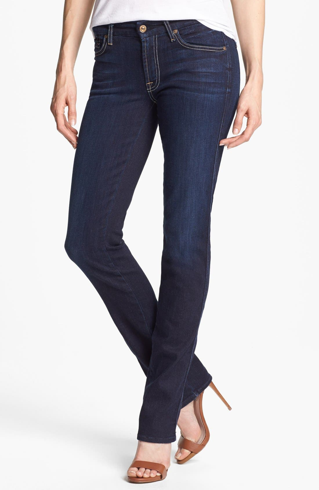 Main Image - 7 For All Mankind® 'Kimmie' Straight Leg Jeans (Black Night)