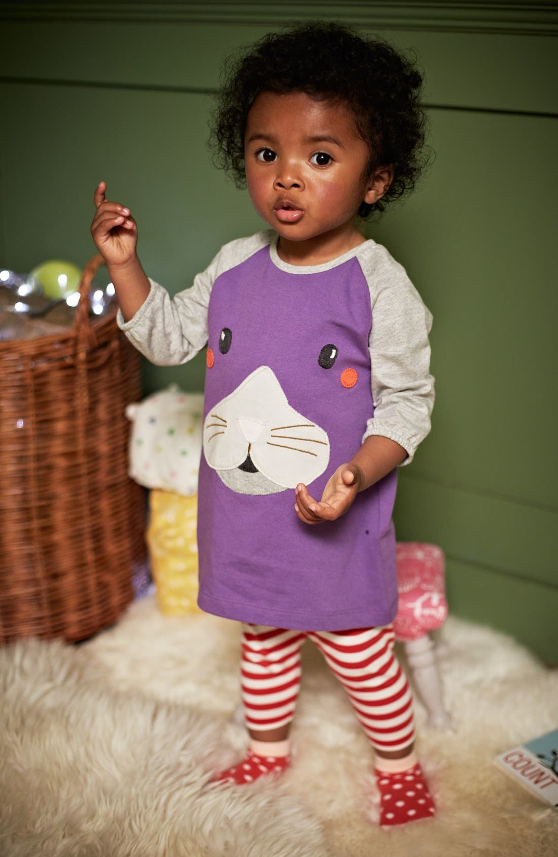 Alternate Image 2  - Mini Boden Appliqué Play Dress (Baby Girls)