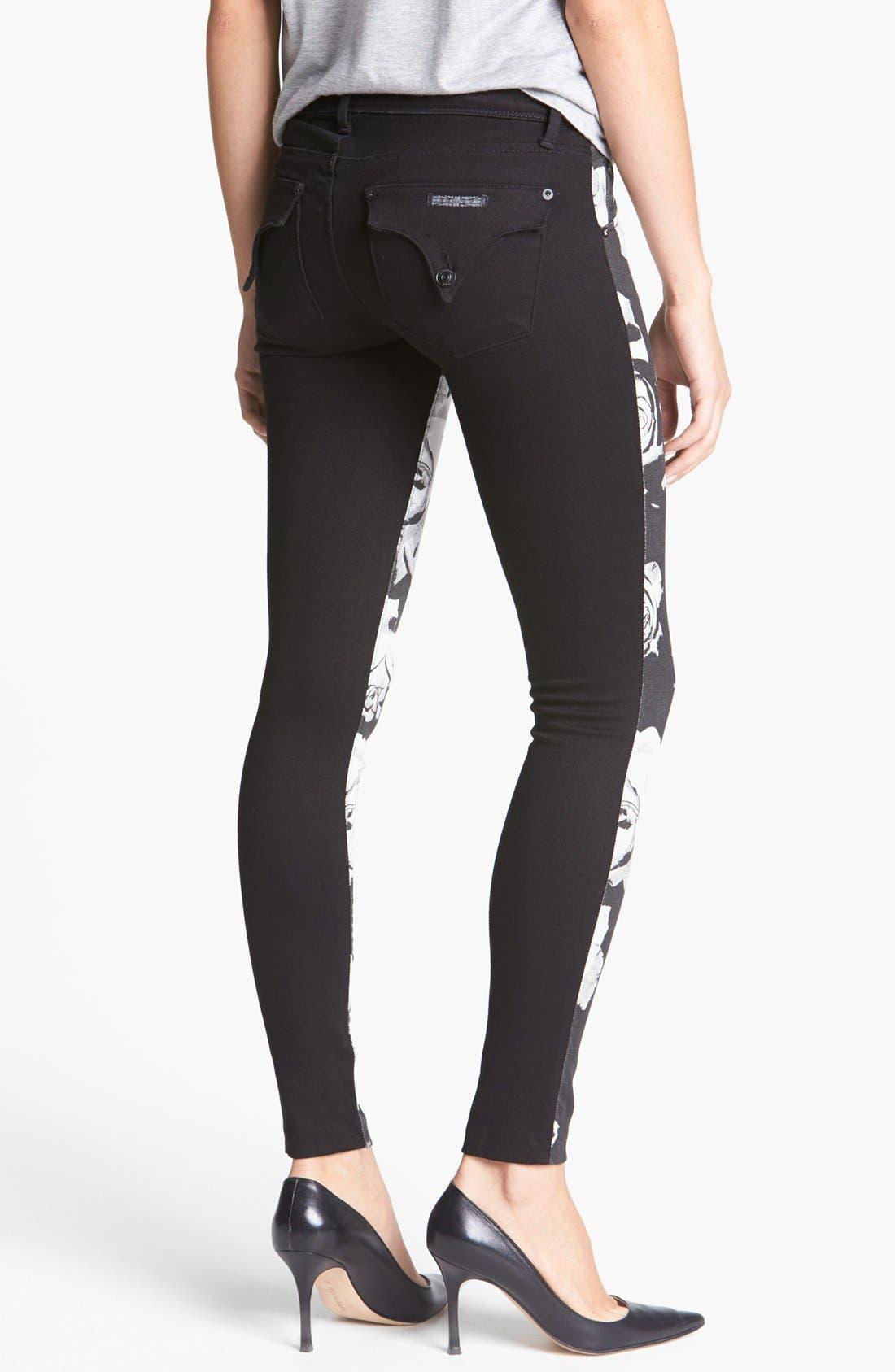 Alternate Image 2  - Hudson Jeans 'Collin' Floral Pattern Skinny Jeans (White/Black)
