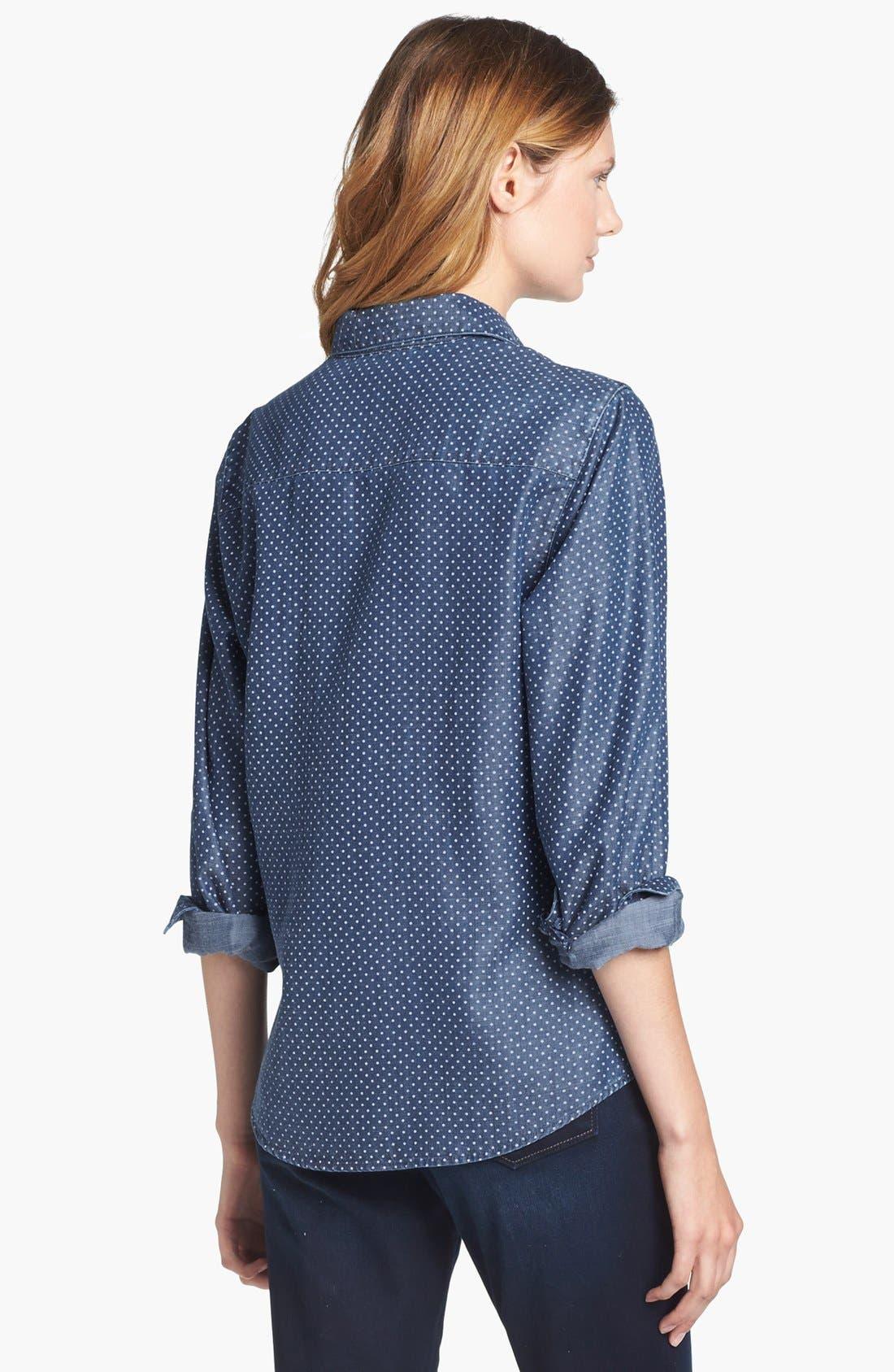 Alternate Image 2  - Foxcroft Dotted Denim Shirt