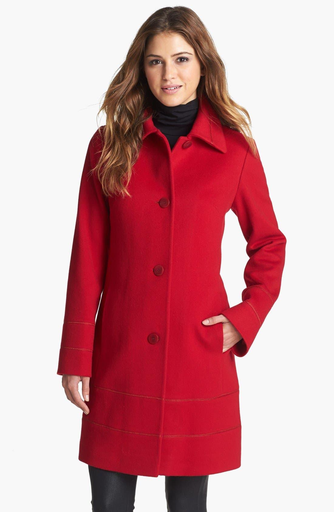 Main Image - Fleurette Stitch Trim Loro Piana Wool Coat (Petite)