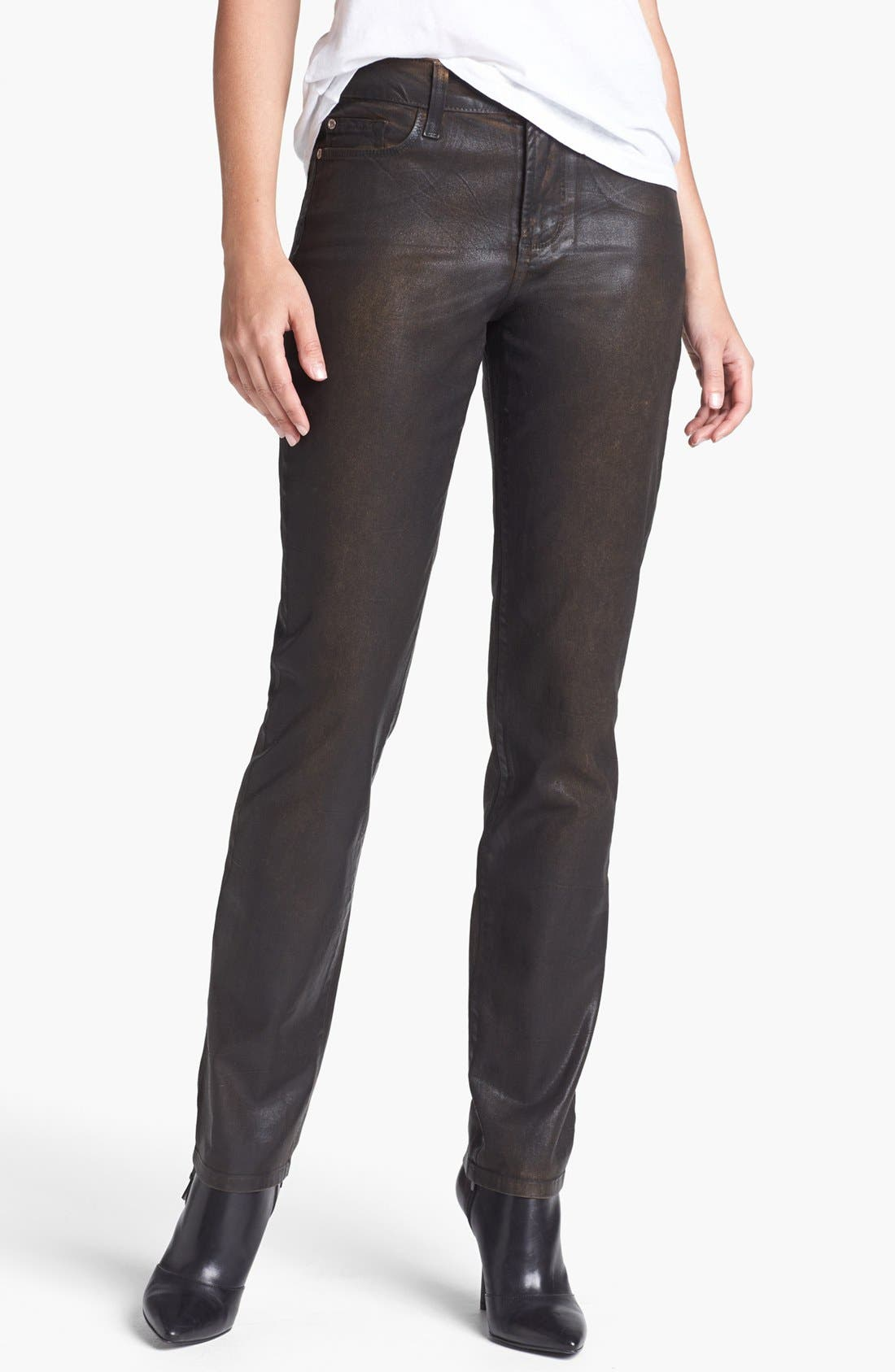 Alternate Image 1 Selected - NYDJ 'Sheri' Coated Stretch Skinny Jeans (Beat Leather)