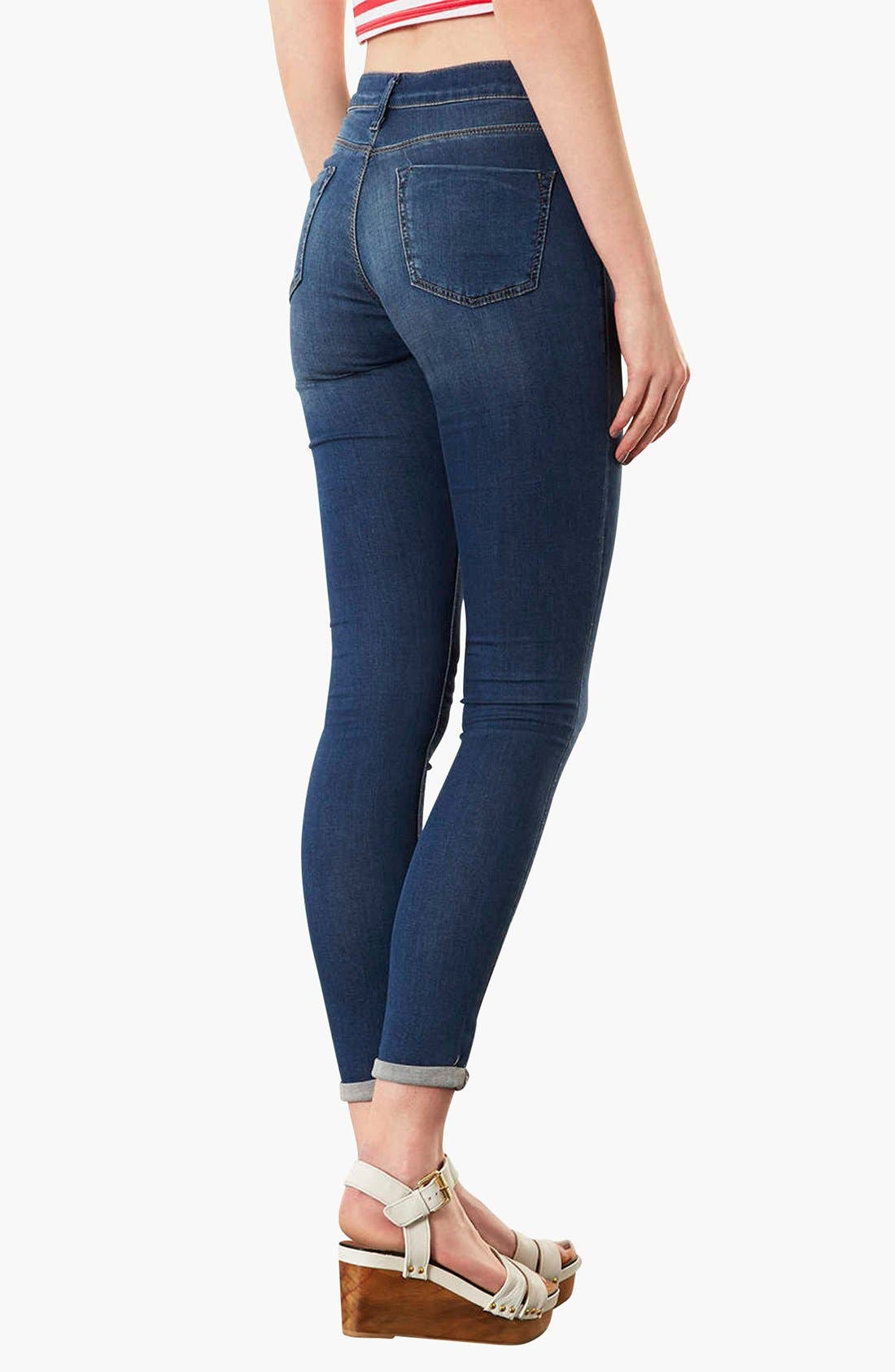 Alternate Image 2  - Topshop Moto 'Leigh' Skinny Ankle Jeans (Mid Stone)