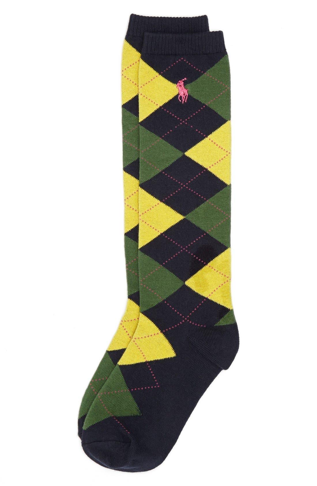 Alternate Image 1 Selected - Polo Ralph Lauren Argyle Knee High Socks (Big Kids)