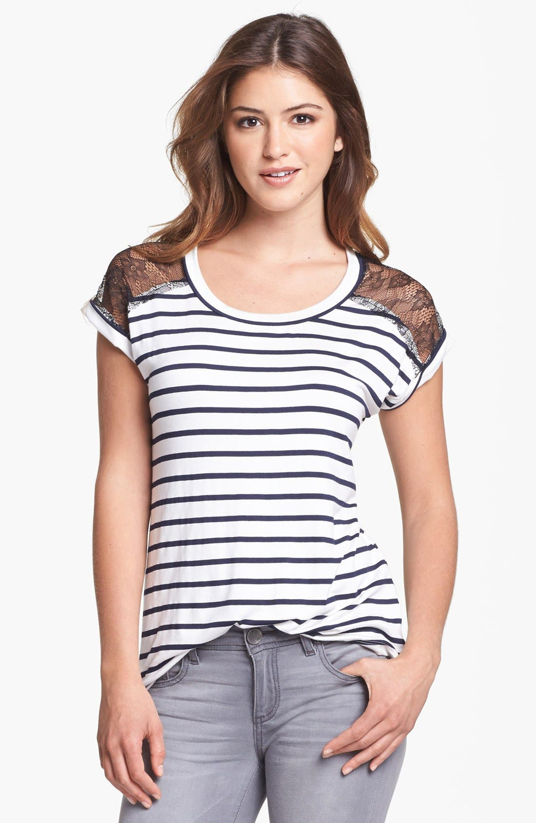 Alternate Image 1 Selected - Pleione Lace Yoke Stripe Tee (Petite)