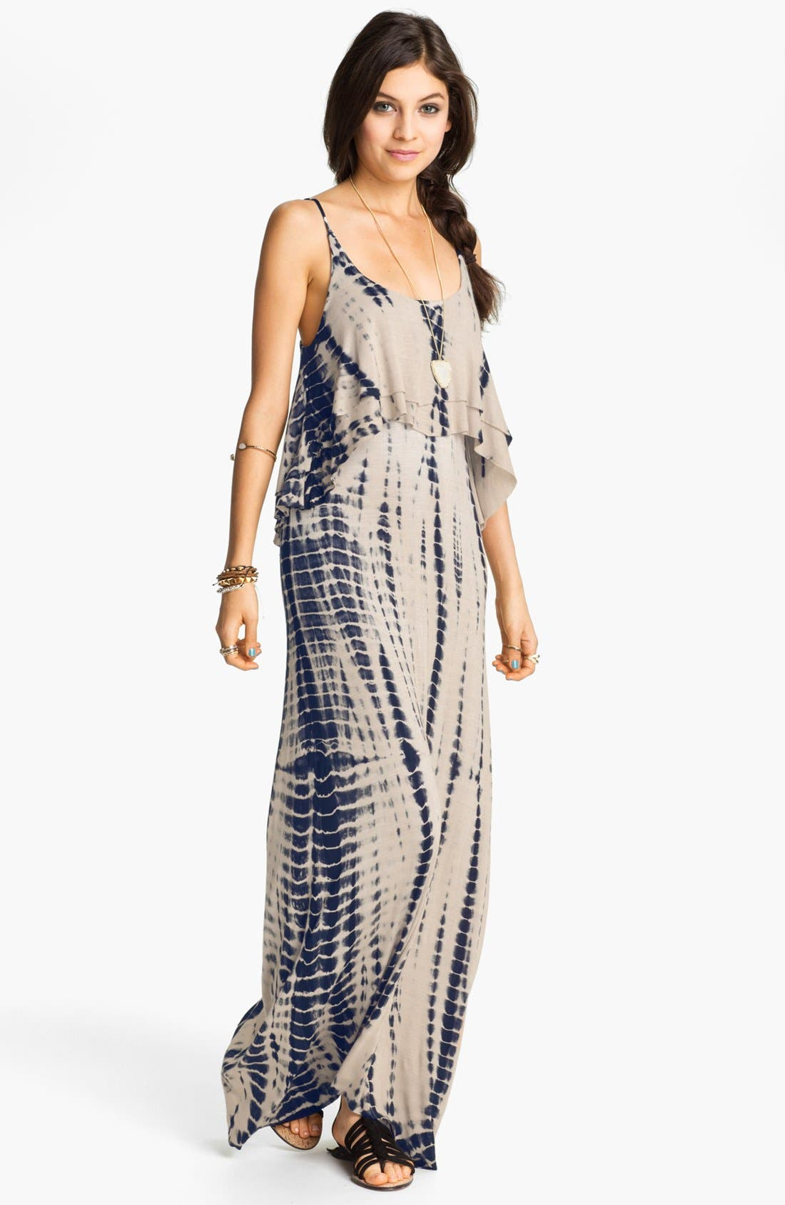Main Image - Mimi Chica Tie Dye Cutout Back Tiered Maxi Dress (Juniors)